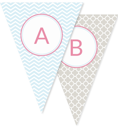 It's Raining Baby Shower in Baby Pink & Blue Bunting