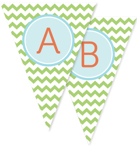 Green Chevron Bunting Flags