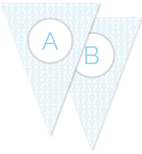 Baby Blue Damask Bunting Flags