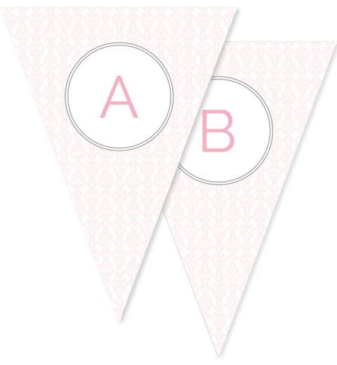 Baby Pink Damask Bunting Flags