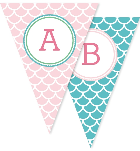 Mermaid Party Bunting Flags
