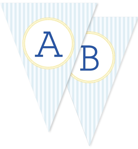 Blue & Yellow Nautical Bunting Flags