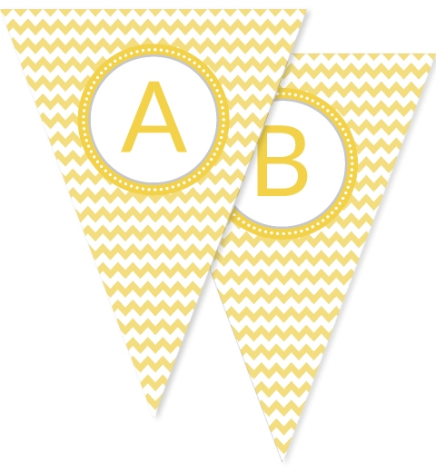 Lemon Chevron Bunting Flags