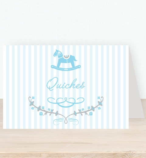 Rocking Horse Blue Tent Card