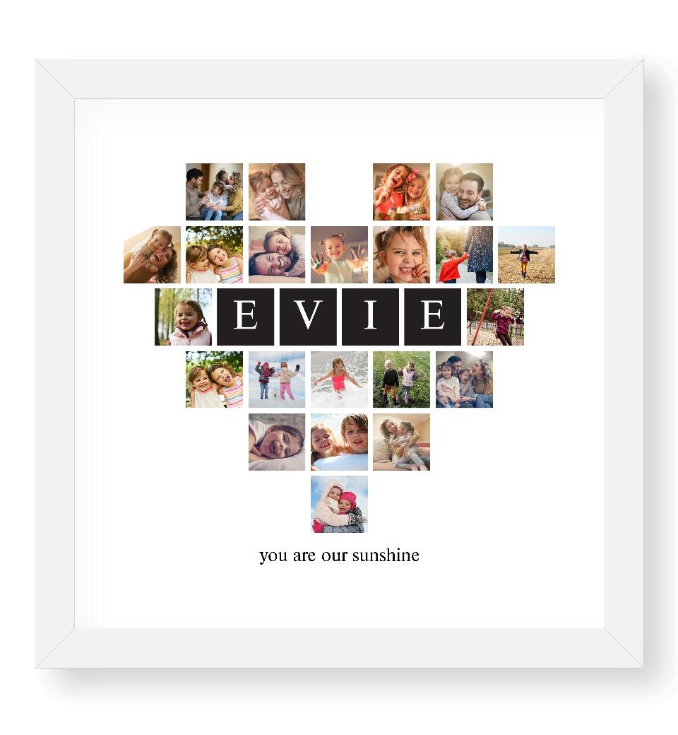 Custom Message Four Letter Photo Heart | Love JK