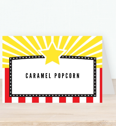 Classic Movie Party Tent Card