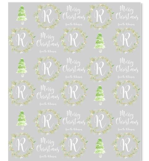 Painterly Christmas Monogram Gift Wrap