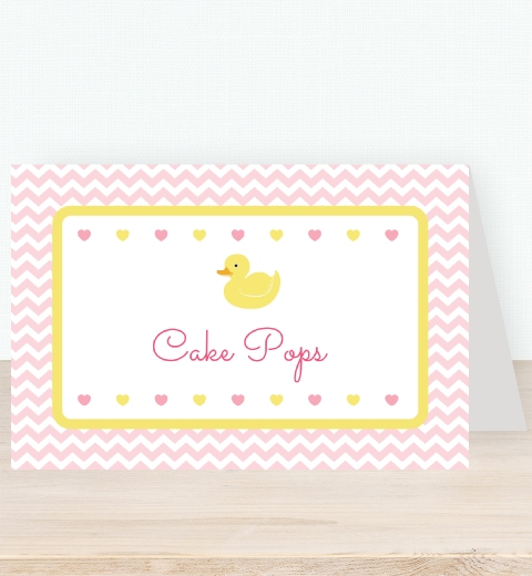 Pink Rubber Ducky Party  Tent Card