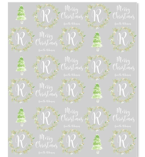 Painterly Christmas Monogram Gift Wrap