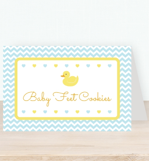 Blue Rubber Ducky Party  Tent Card