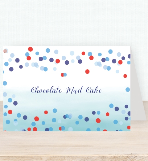 Blue Confetti Tent Card