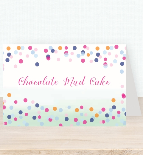 Colourful Confetti Baby Shower  Tent Card