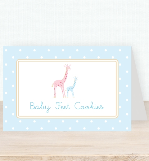 Mama & Bubba Giraffe in Blue Tent Card