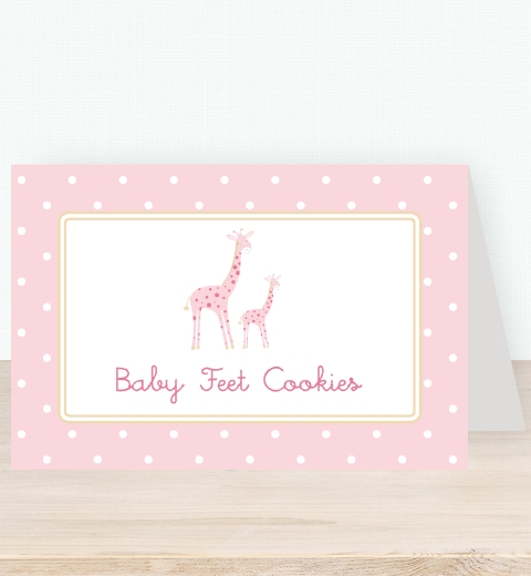 Mama & Bubba Giraffe in Pink Tent Card