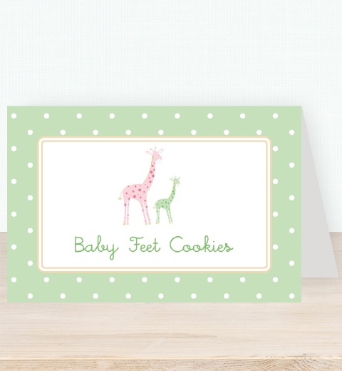 Mama & Bubba Giraffe in Mint Tent Card