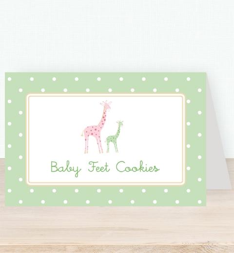 Mama & Bubba Giraffe in Mint Tent Card