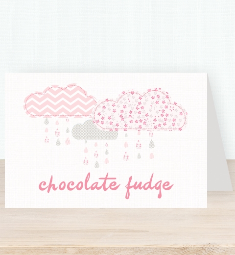 It's Raining Baby Shower in Pink Tent Card