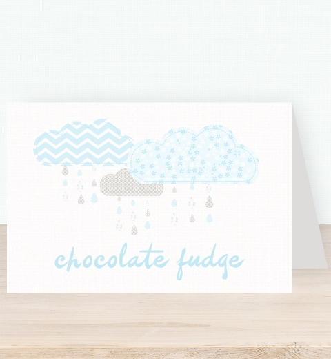 It's Raining Baby Shower in Blue Tent Card
