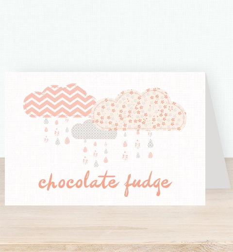 It's Raining Baby Shower in Peach Tent Card