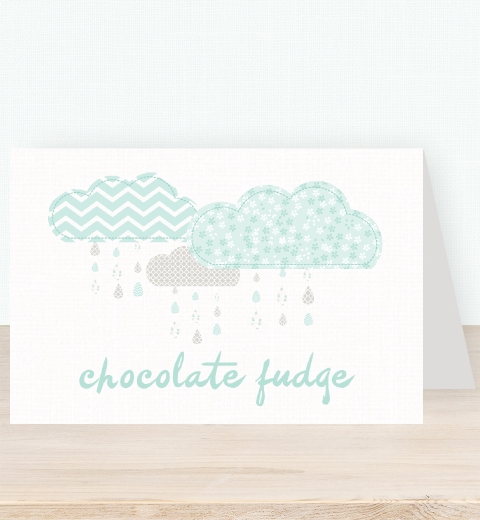 It's Raining Baby Shower in Mint Tent Card