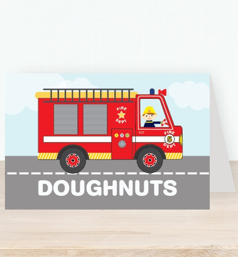 Fire Engine Tent Card