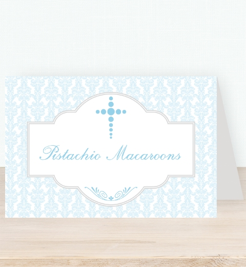 Baby Blue Damask Tent Card