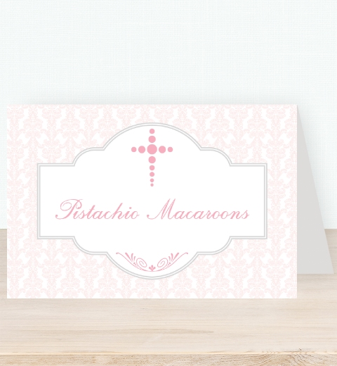Pink Damask Tent Card