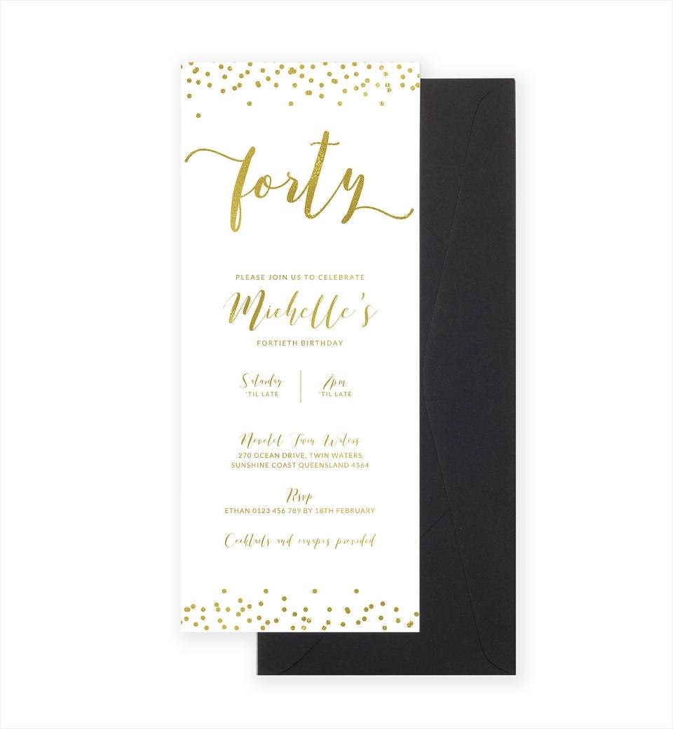 40th Gold Foil Confetti Invitation | Love JK