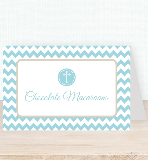 Blue Chevron Christening Tent Card