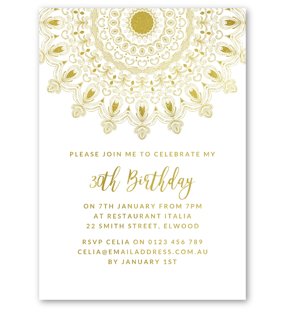 Moroccan Gold Foil Party Invitation Front
