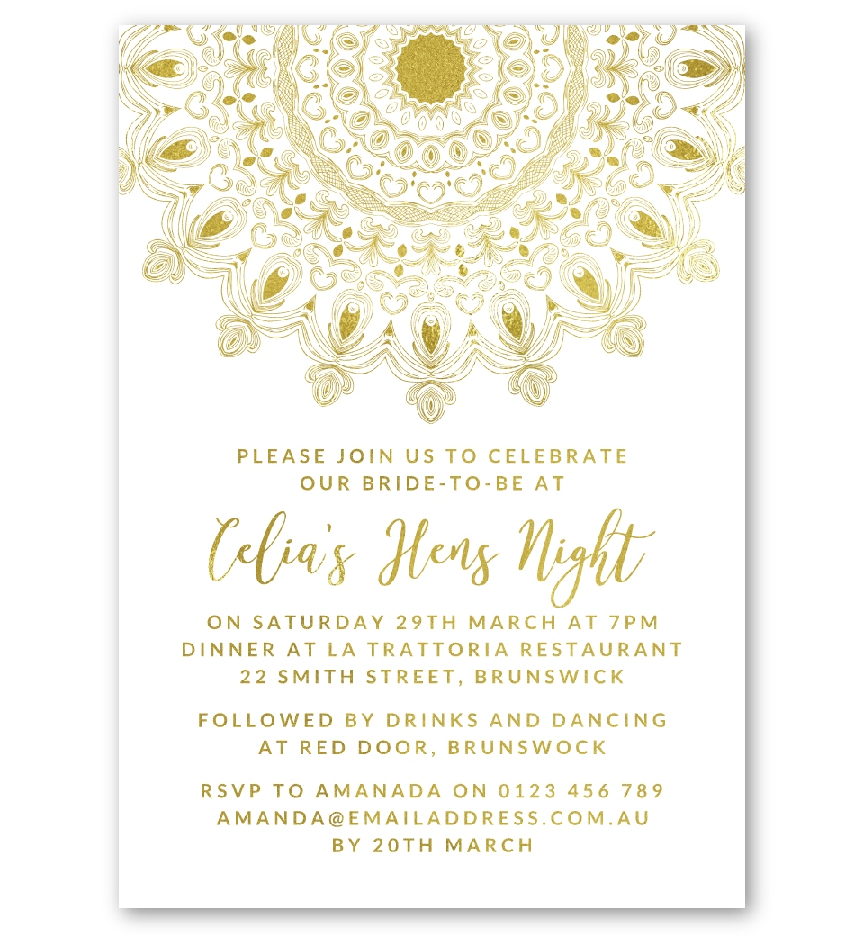 moroccan gold foil bridal shower hens day invitation love jk