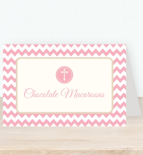 Pink Chevron Christening Tent Card