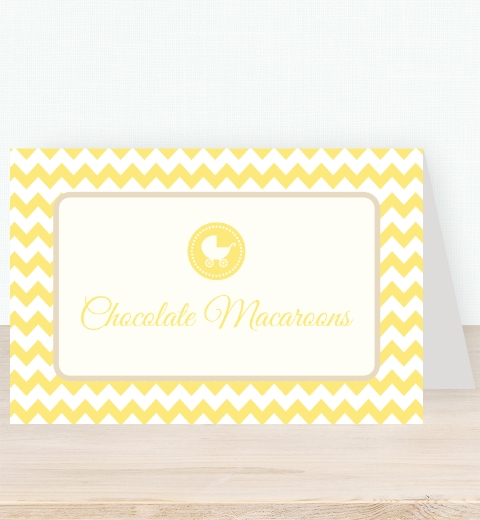 Lemon Chevron Baby Shower Tent Card