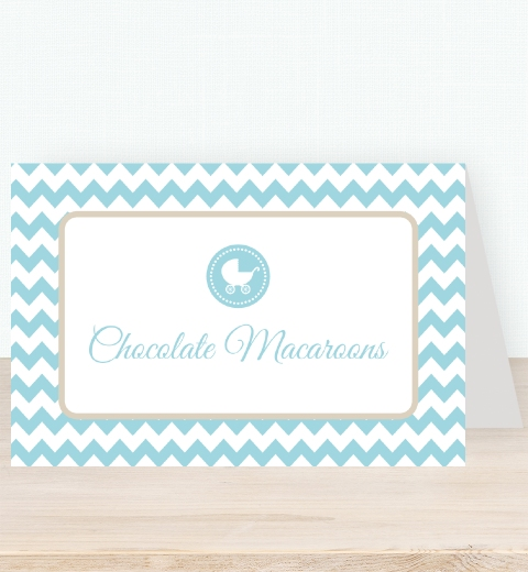 Blue Chevron Baby Shower Tent Card