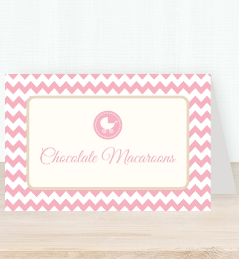 Pink Chevron Baby Shower Tent Card