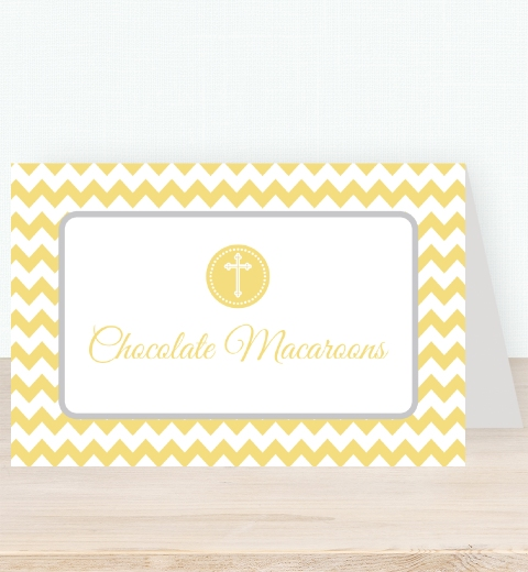 Lemon Chevron Christening Tent Card