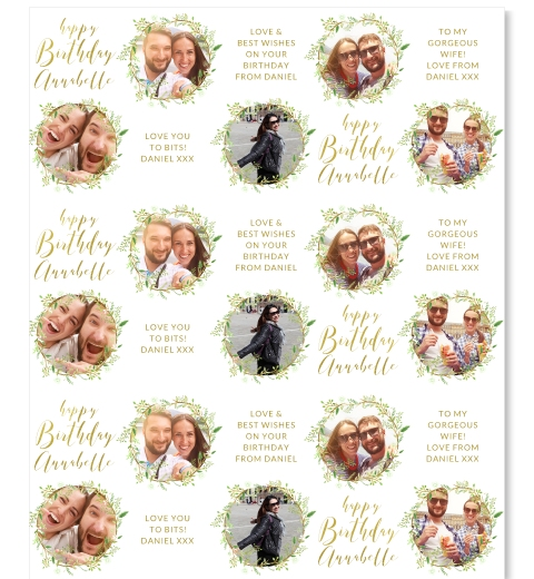 Green Wreath Birthday Wrapping Paper