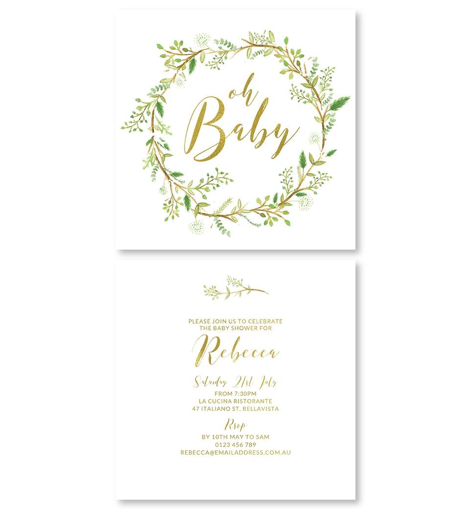 7e6def4d4f6706 Green Wreath Gold Foil Baby Shower Invitation. Front. Back. Front   Back