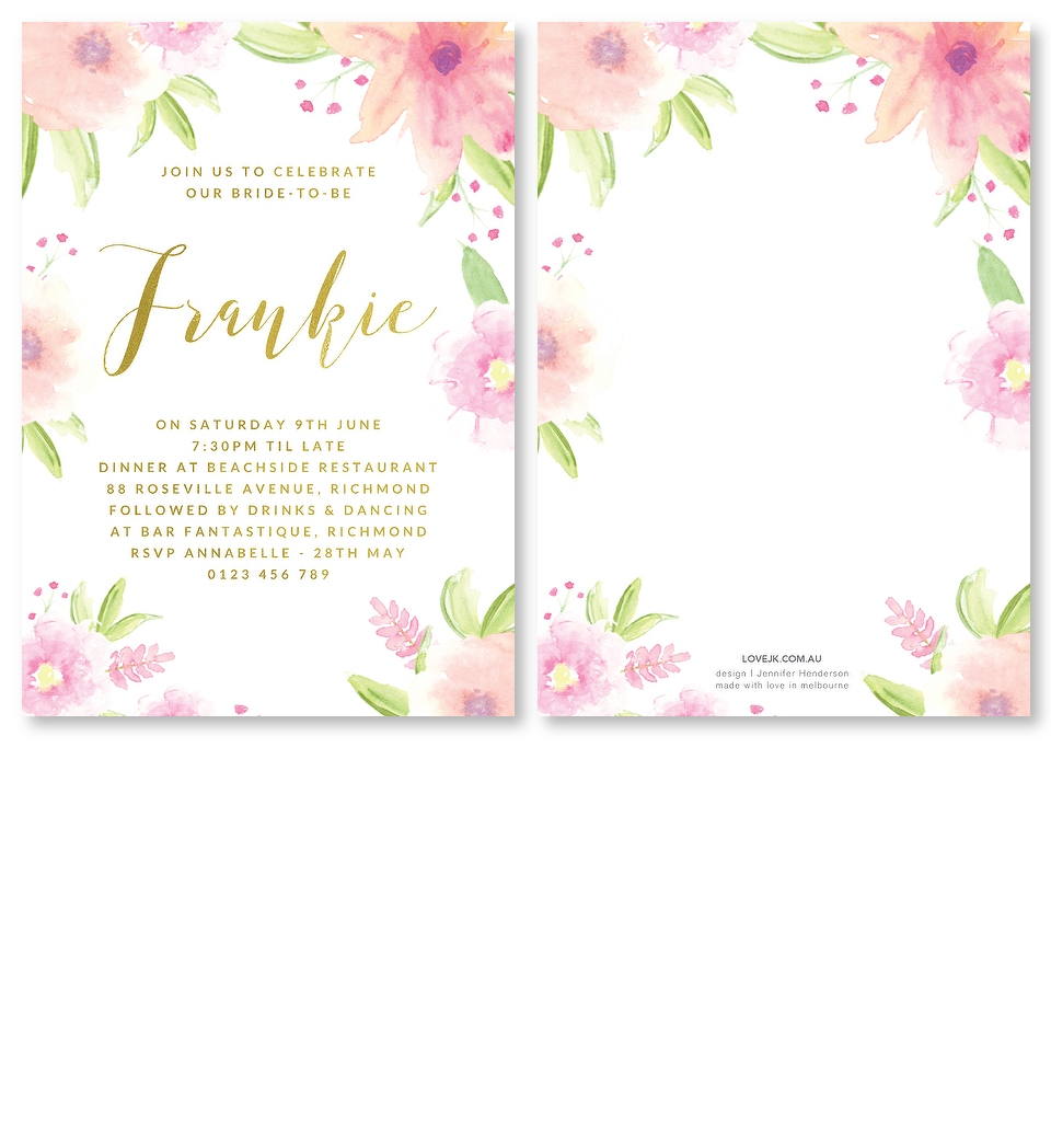 Gold foil garden party bridal shower invitation love jk gold foil garden party bridal shower invitation front back front back stopboris Image collections