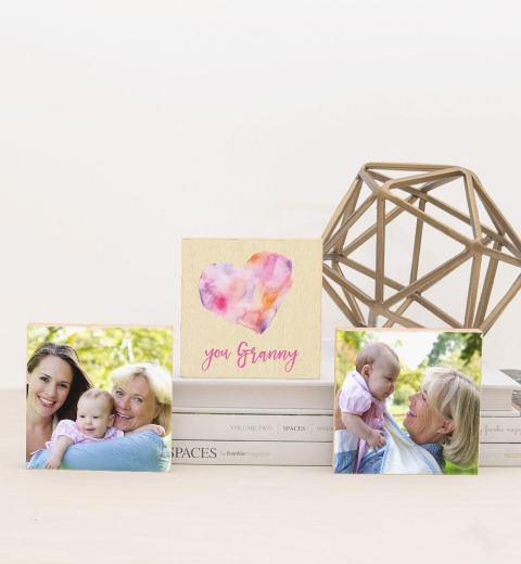 Watercolour Heart Pink Photo Blocks