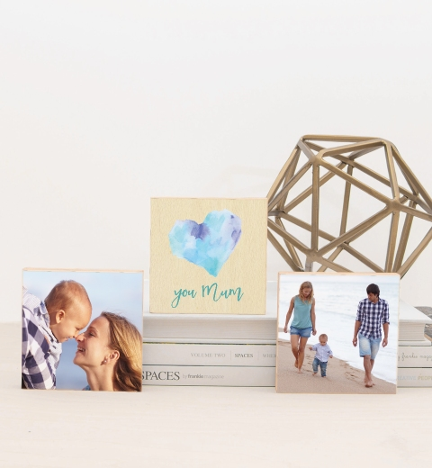 Watercolour Heart Blue Photo Blocks