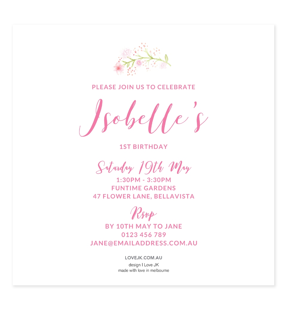 Pink Wreath Birthday Invitation | Love JK