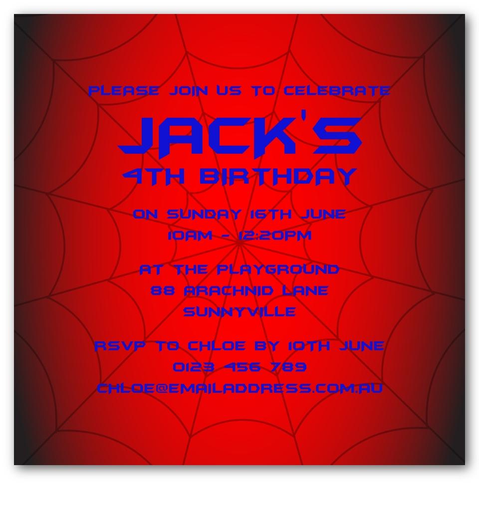 Spider Birthday Invitation   Love JK
