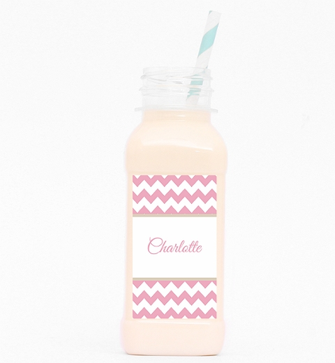 Pink Chevron Juice Bottle