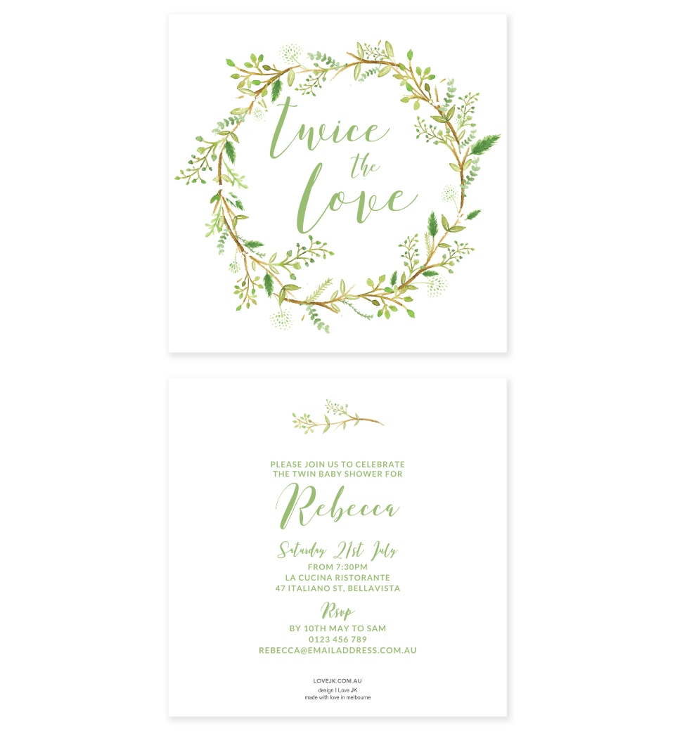 Green Wreath Twins Baby Shower Invitation Love Jk