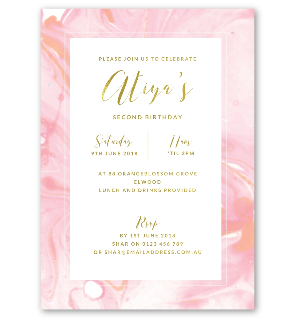 Pink Marble Gold Foil Birthday Invitation Front
