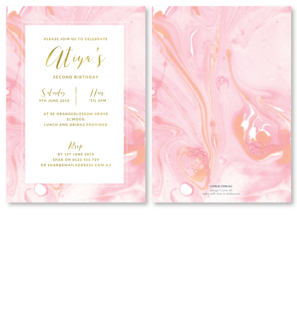 Pink Marble Gold Foil Birthday Invitation Front Back