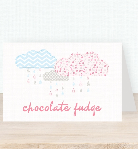 It's Raining Baby Shower in Baby Pink & Blue Tent Card