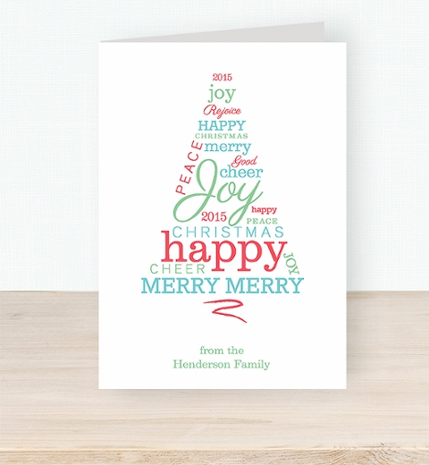 Typographic Christmas Tree Card