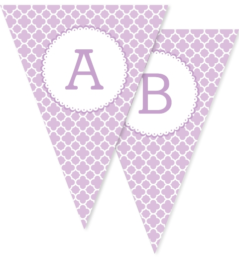 Lavender Quatrefoil Bunting Flags